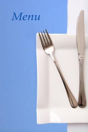 dinner hall: Restaurant menu, blue color Stock Photo