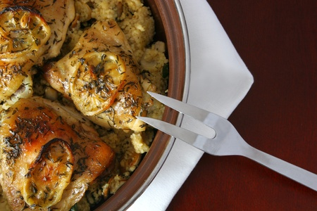 Delicious pollo arrosto al limone photo