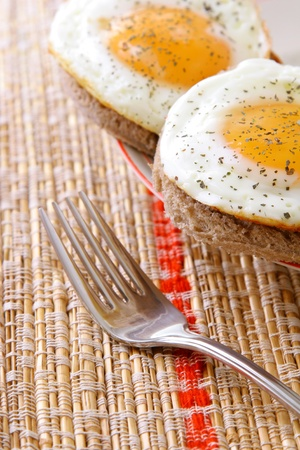 sunny side up: Two eggs sunny side up Stock Photo