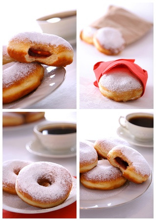coffee jelly: Collage of fresh doughnuts