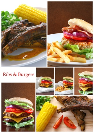 Collage of various burgers and ribs photo