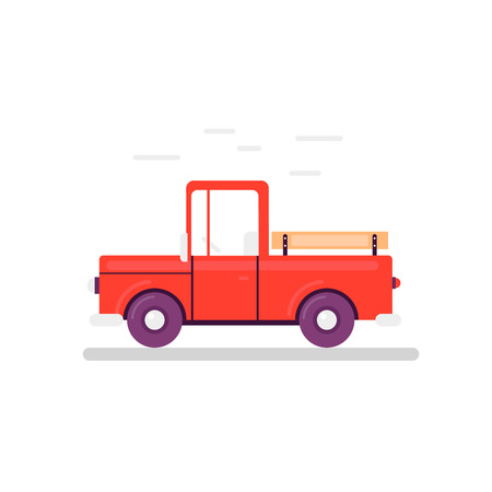 automotive industry: Flat illustration of cartoon delivery pickup