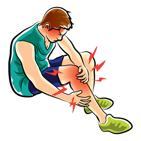 aching muscles: man was leg ache and pain Illustration