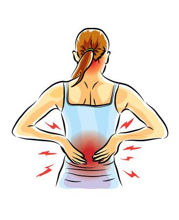 hurt back,pain,woman Stock Illustratie