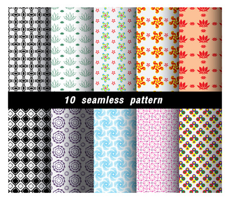 mid century modern: Geometric and flower  Patterns. Retro Mod Backgrounds in Chevron,Checkerboard, Stars, Triangles, Herringbone and Stripes Patterns. Pattern Swatches with Global Colors Illustration