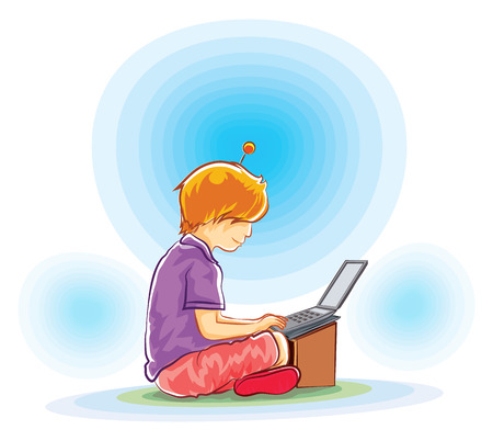 vector boy sitting play laptop