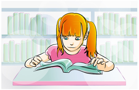 young girl reading a book in library Illustration