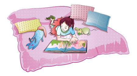 child studying: girl read story book on bed with doll