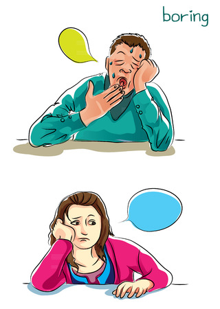 sleepy woman: boring feeling Illustration