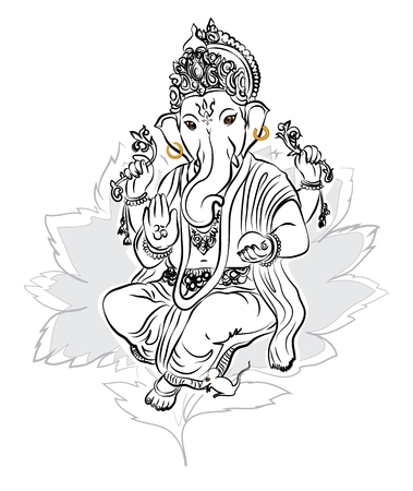 krishna: Lord Ganesha drawing vector Illustration