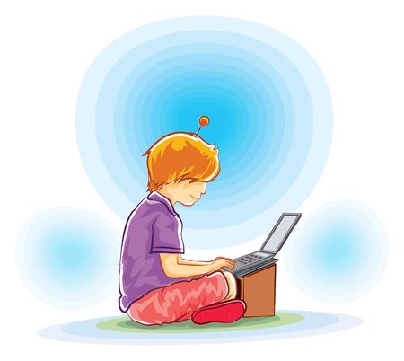 using laptop: vector boy sitting play laptop