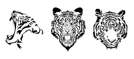 tiger white: tiger heads in black vector Illustration