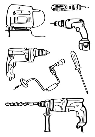 penetrate: equipment for technician drawing vector Illustration