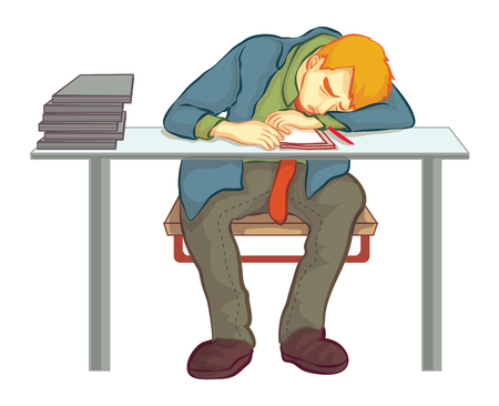 be ill: Nap at work,work hard Illustration