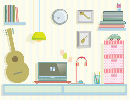 decorate notebook: work area in my room vector