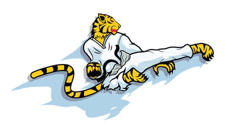 artes marciales: tigre acción taekwondo vector, deporte Vectores