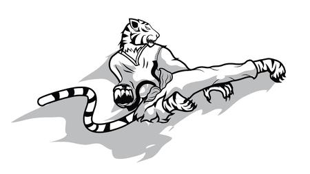 dauntless: tiger taekwondo action vector,sport Illustration