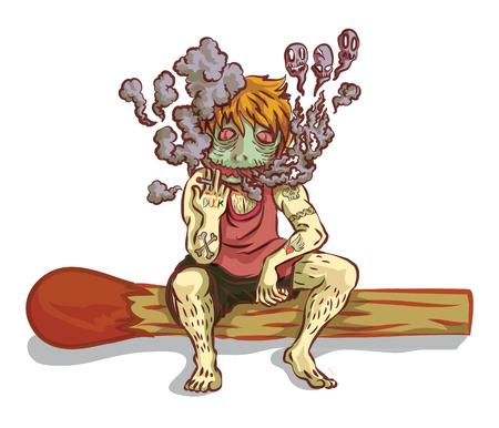 siting: man siting  smoking and smoke on matches. Illustration