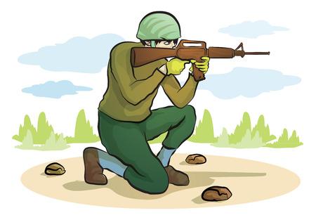 hombre disparando: Pistola de tiro Hombre Vectores