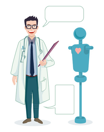 researcher: doctor professional stand and speak blank bubble with puppet cartoon vector