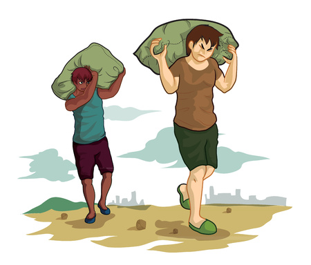 chock: two men carrying a sack on nature background