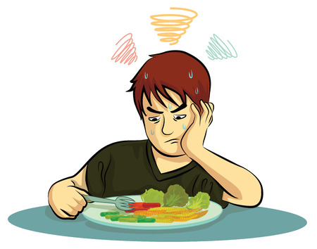 weary: boy no eat vagetables Illustration