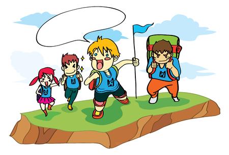 group travel: child group adventure travel cartoon vector