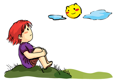 Boy lonely sitting on hill waching the moon Stock Illustratie