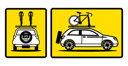 rag wheel: car sign banner vector,bike on car
