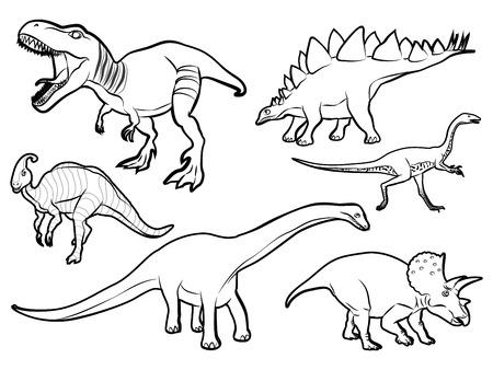 恐竜漫画の黒と白のベクトル