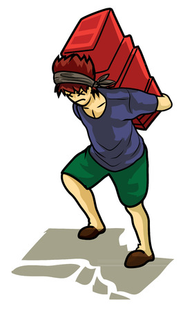 baggage: Childrens lift some baggage Illustration
