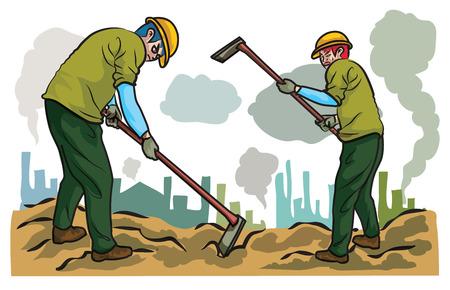 erect: Labor is working,building Illustration