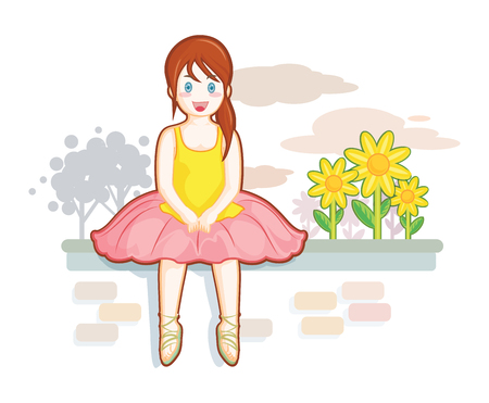 suite: Cute little girl in ballet suite, lounge near the flower garden. Illustration