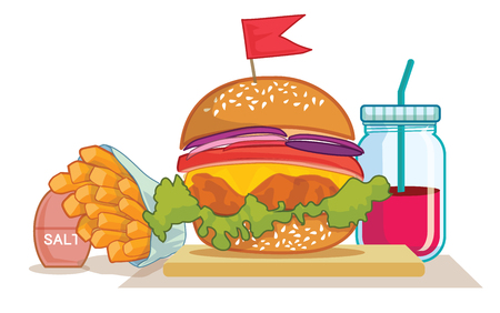 unhealthy: french fries, burger and soda takeaway. Flat design. Fizzy drink, hot dog, cheeseburger, hamburger and other restaurant menu elements. Vector poster of unhealthy fast food