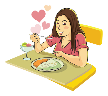 eating food: Lady enjoy eating food vector cartoon.