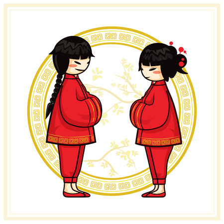 Chinesisches Neujahr Kinder Bei Der Begrüßung Und Rotes Paket Thema ...