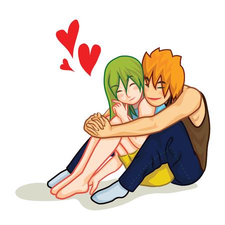 red man: Mujer hermosa en el amor es abrazada por su novio vector de la historieta