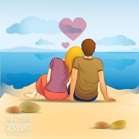 cheerful woman: amante pareja sentarse en la playa en el tiempo de luna de miel Vectores