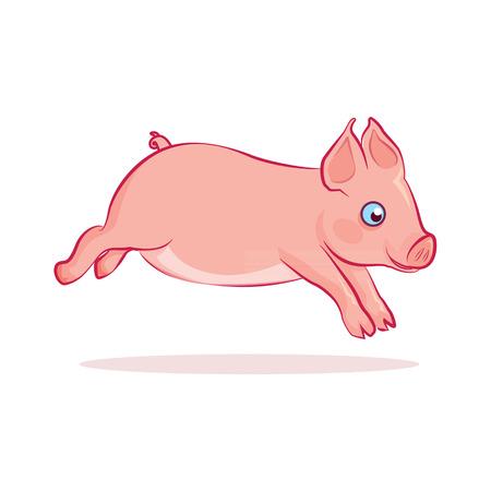 piglet: piglet funny running cartoon vector Illustration