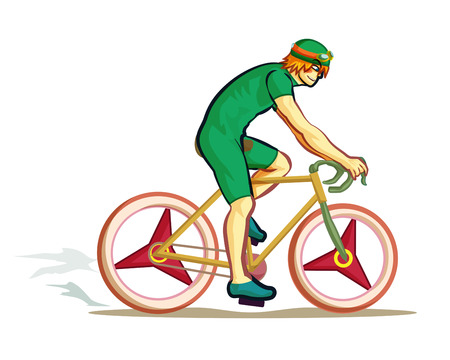 cartoon mountain: man ride bicycle vector Illustration