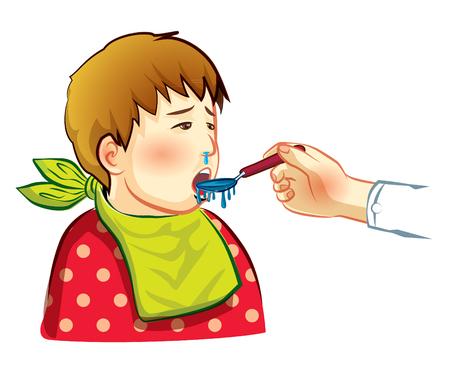 cough syrup: sick boy eat drug cartoon vector Illustration
