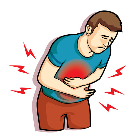 man was touching his belly having terrible stomachache pain Illustration