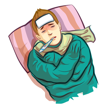 unshaven: sick man laying in bed with fever Illustration