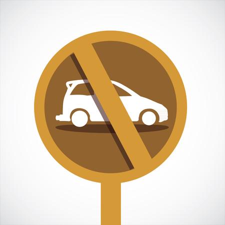 illegal zone: car forbidden icon, on white background
