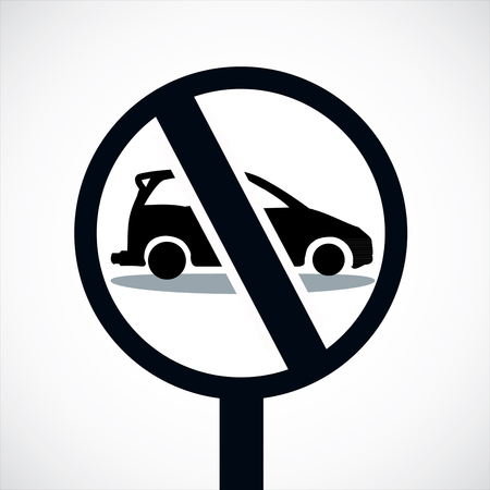parking is prohibited: car forbidden icon, on white background