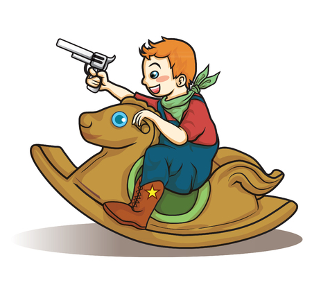 little cowboy riding rocking horse