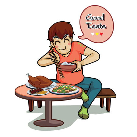 Cute teen siting and eat the food on floor table tasty asia style Illustration