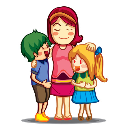 family isolated: Happy family portrait with cheerful children together isolated on white. Vector illustration of smiling family, mom and two teen kids Illustration