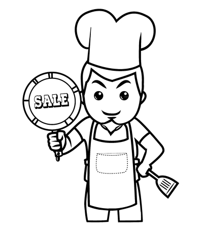 kitchen cartoon: Chef de pie con la venta signo bodega