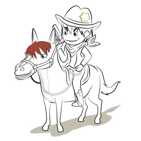 sherif: cowboy in uniform hold the gun ride the horse vector cartoon
